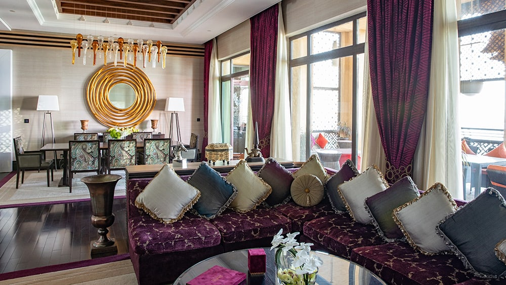 Living and dining room of the Royal Suite at Jumeirah Mina A'Salam