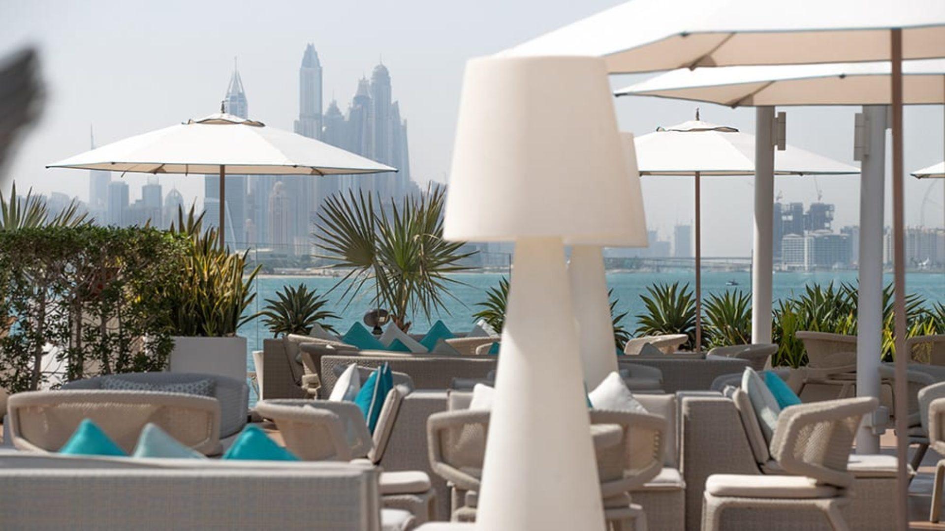 View of Dubai from the pool terrace at the Burj Al Arab