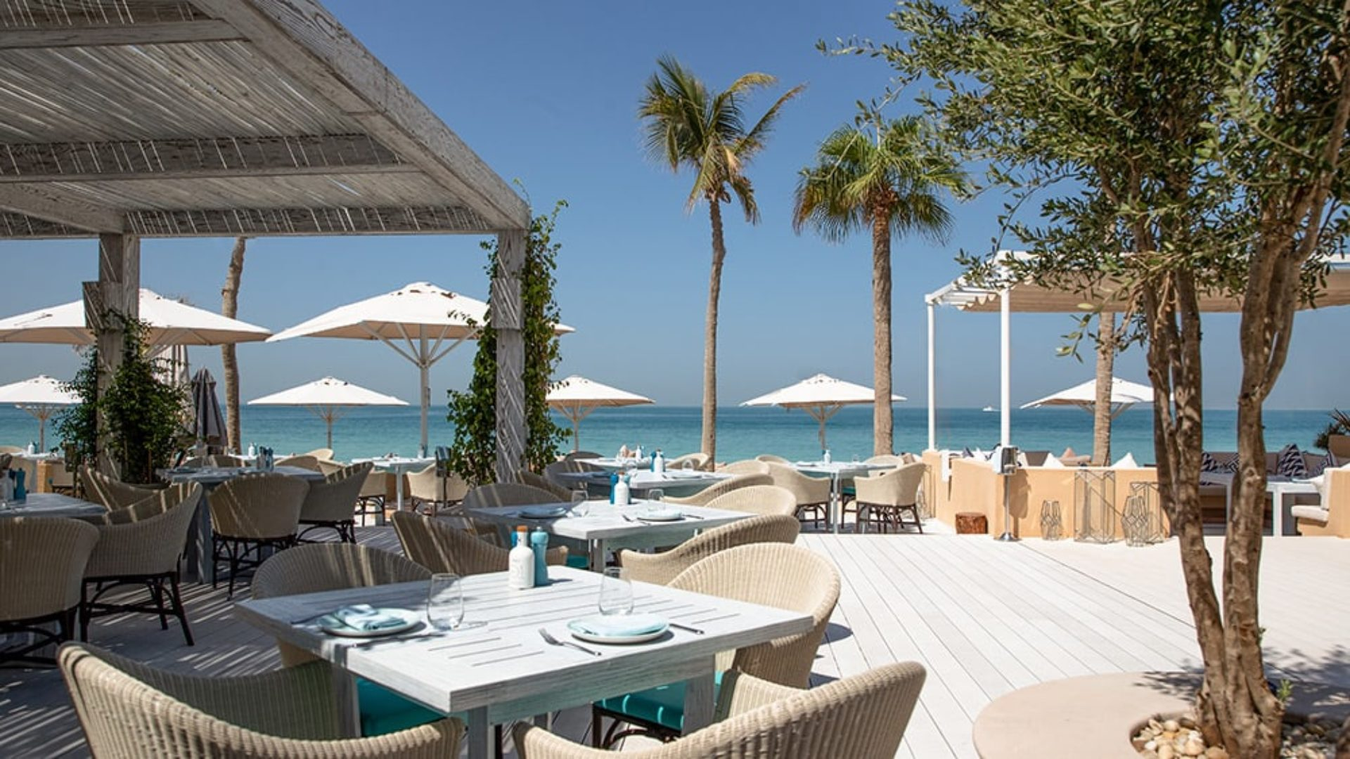 Outdoor terrace at Shimmers Restaurant at Jumeirah Mina A'Salam