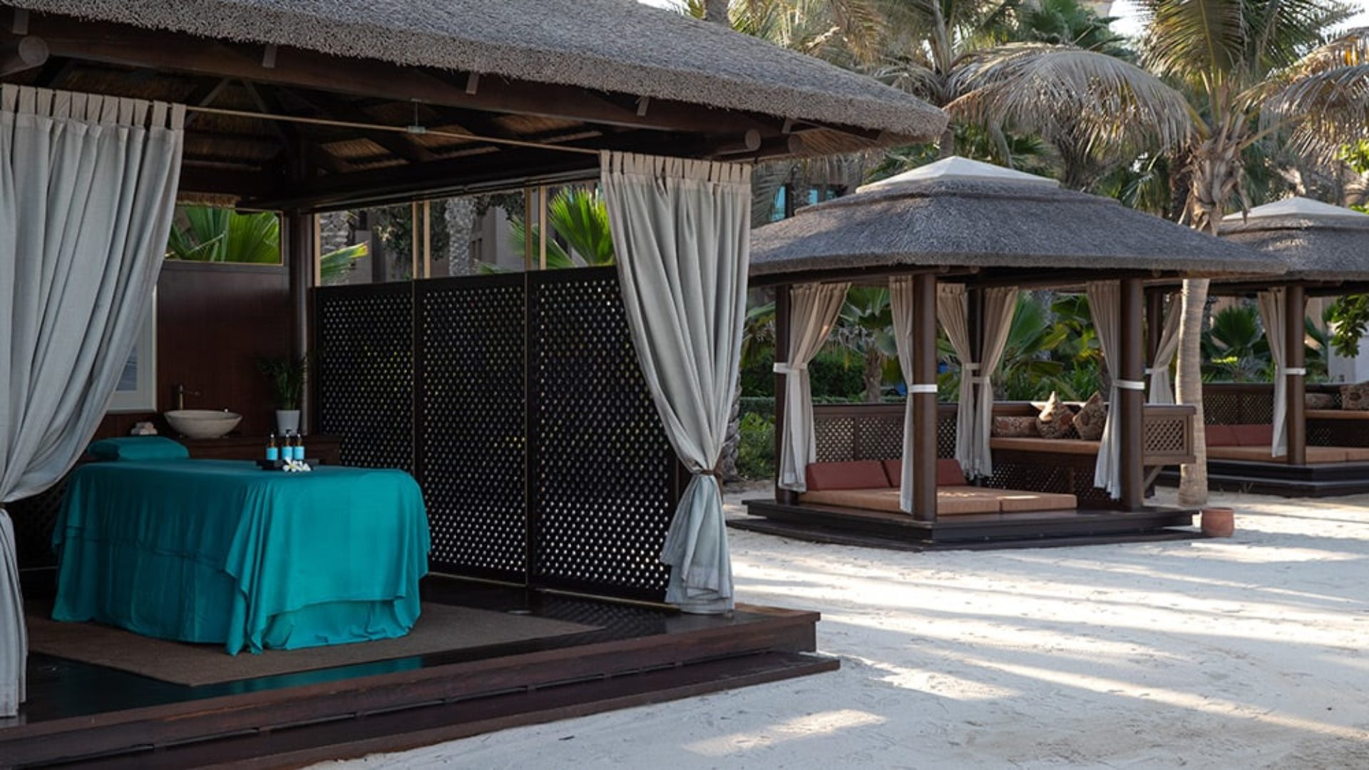 Beach spa cabanas at Jumeirah Dar Al Masyaf