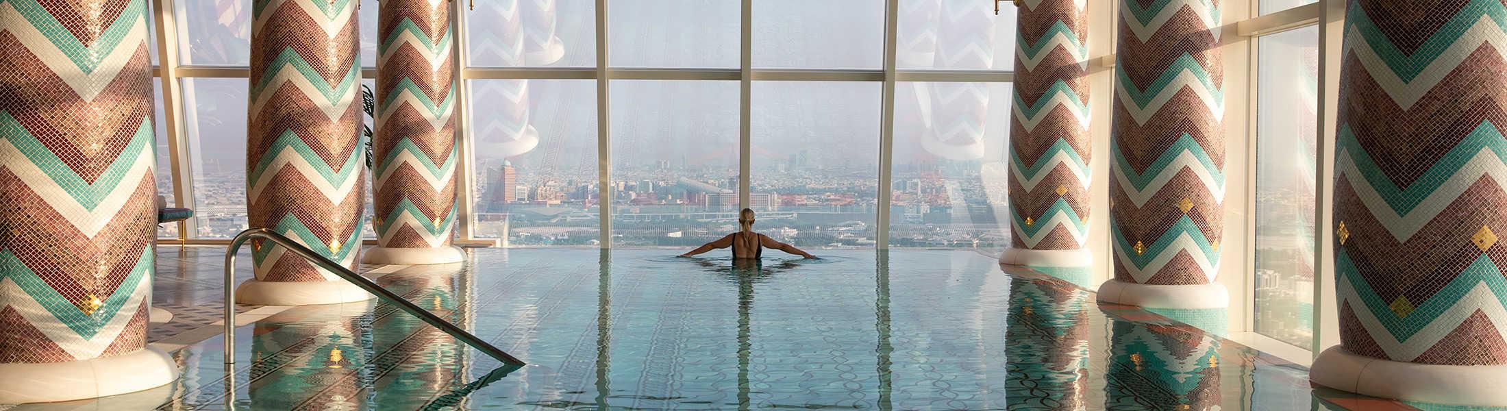 Woman in the spa pool at the Burj Al Arab