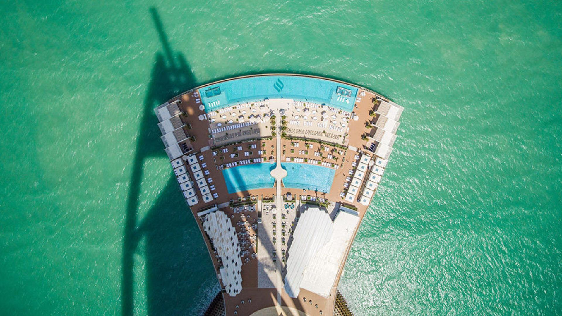 Aerial view of the pool terrace at the Burj Al Arab