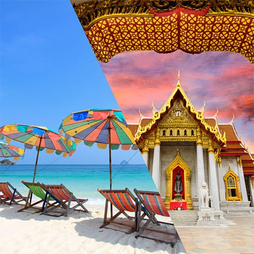 Phuket beach & Bangkok temple merged