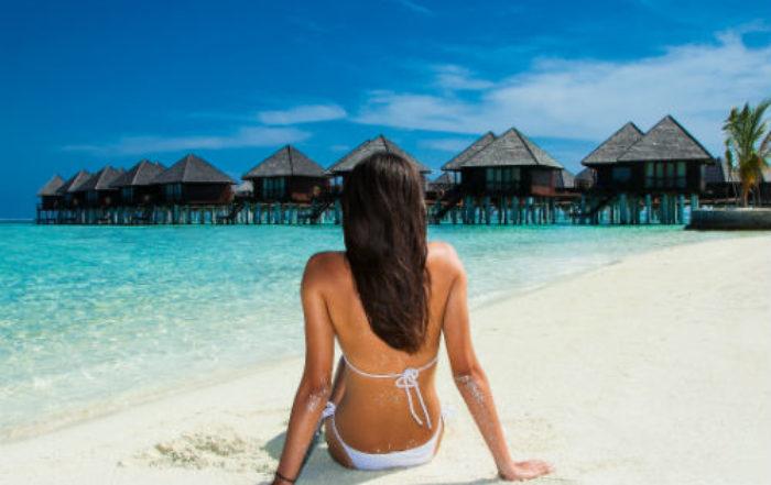 Woman on a Maldives beach