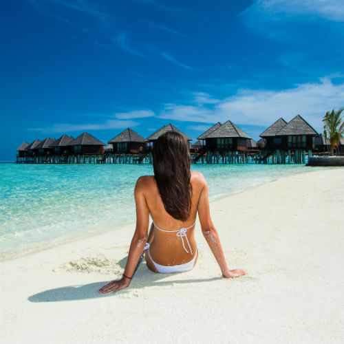 Woman on a Maldives beach