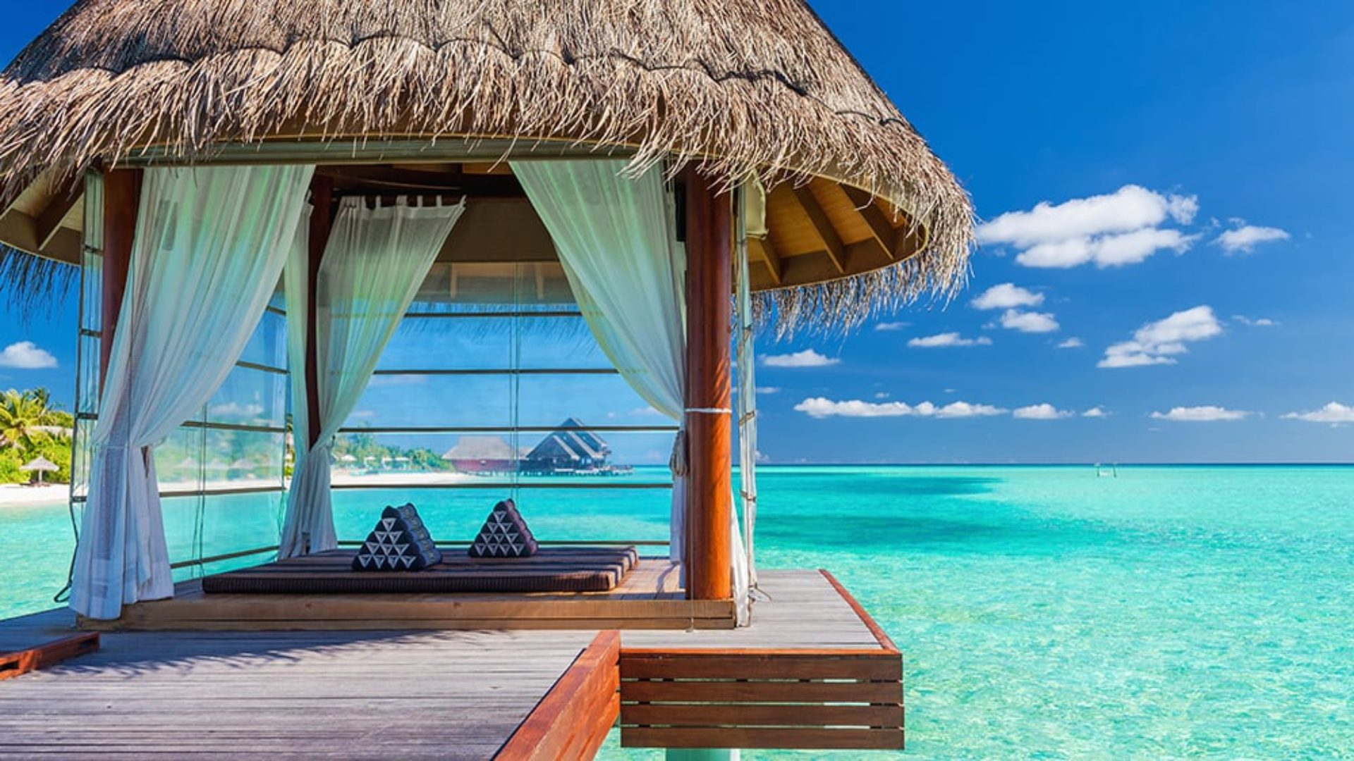 Overwater yoga pavilion in the Maldives