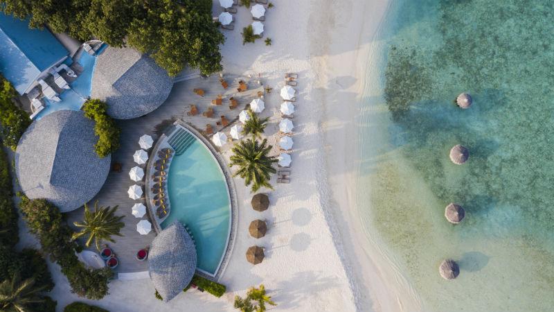 Aerial shot of resort Centara Ras Fushi Resort