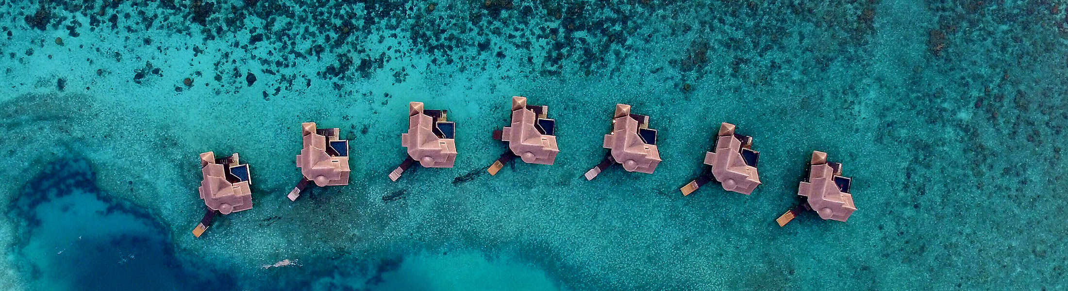 Aerial view of the Private Overwater villas at Jumeirah Vittaveli