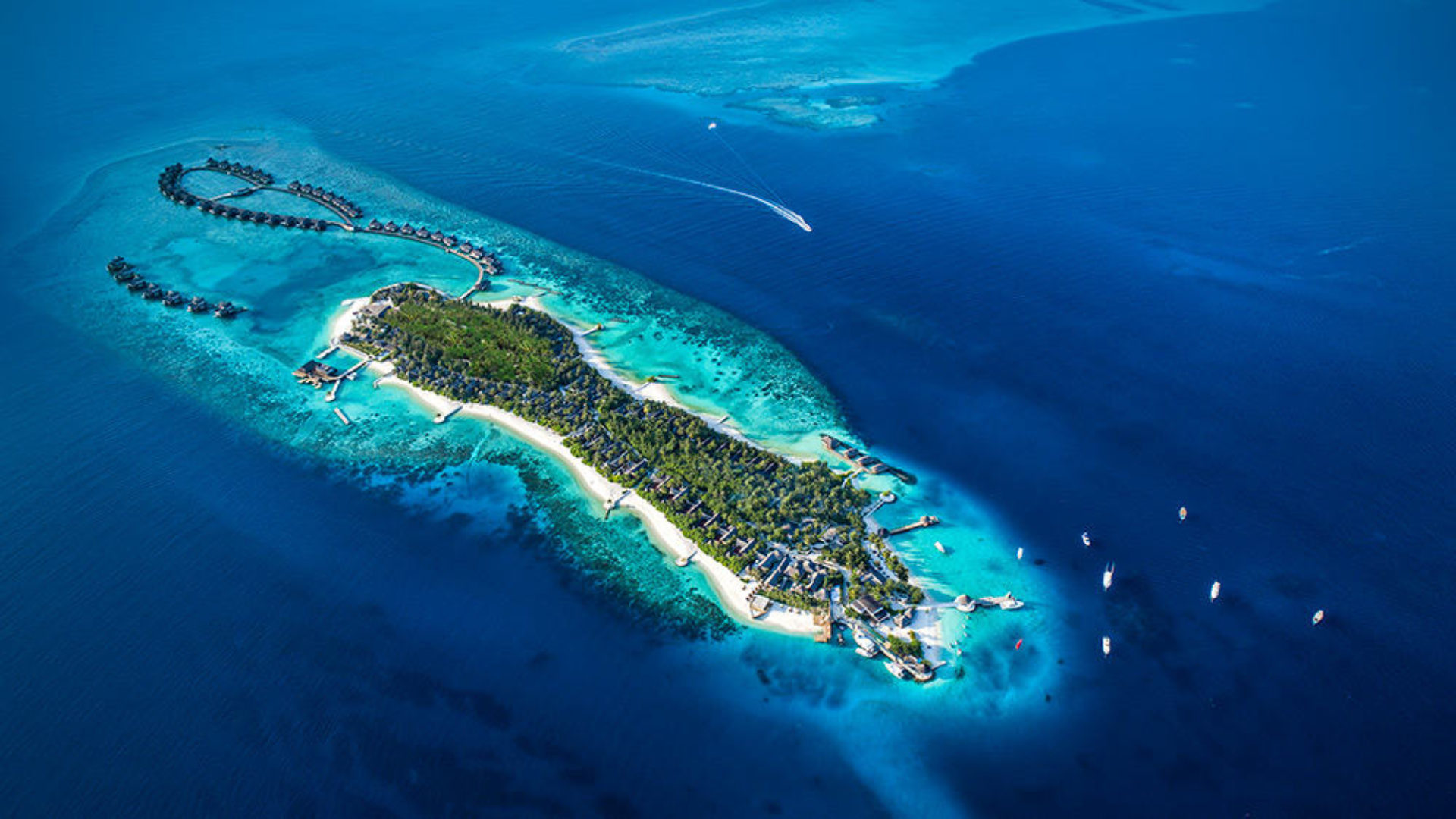 Aerial view of the island and villas at Jumeirah Vittaveli in the Maldives