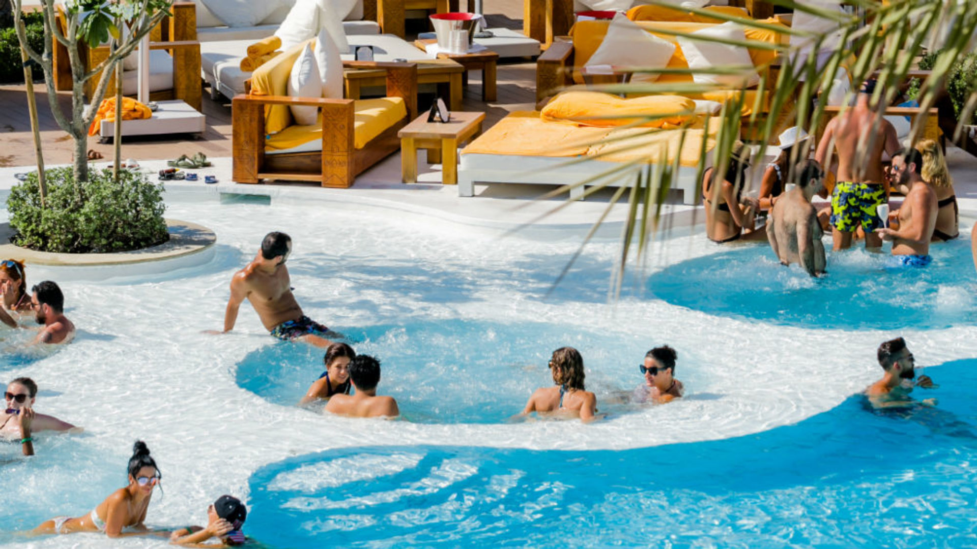 People in the Jacuzzi in the Beach Club at Nikki Beach Resort & Spa
