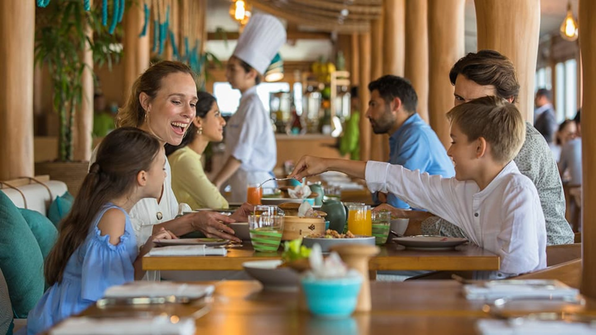 Family dining at Beachcombers Restaurant at Jumeirah Beach Hotel