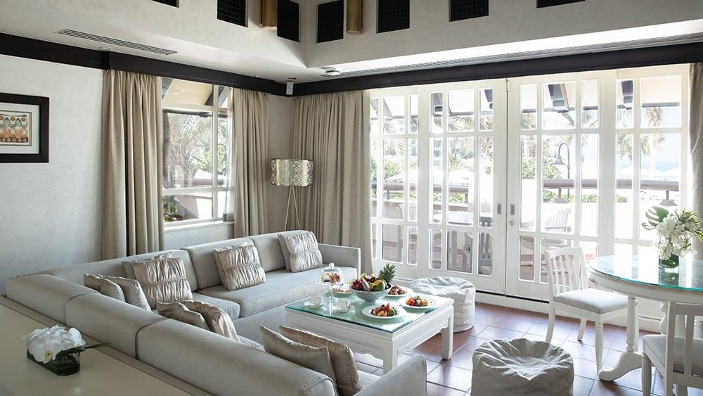 Living room of the Beit Al Bahar Two Bedroom Villa at Jumeirah Beach Hotel