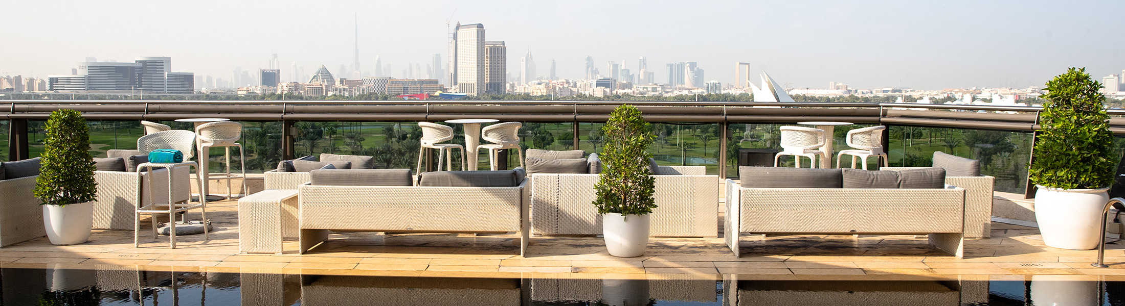 Rooftop pool and lounges at Jumeirah Creekside