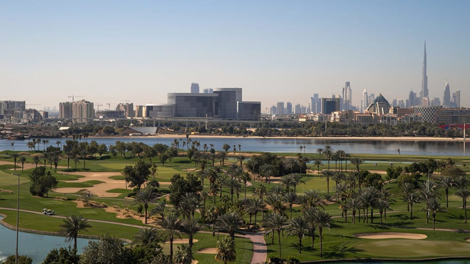 Aerial view of the golf course at Jumeirah Creekside