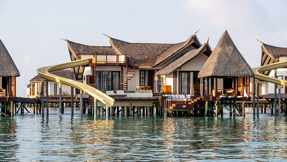 Exterior of the Infinity Pool Ocean Villa with Slide at Jumeirah Vittaveli