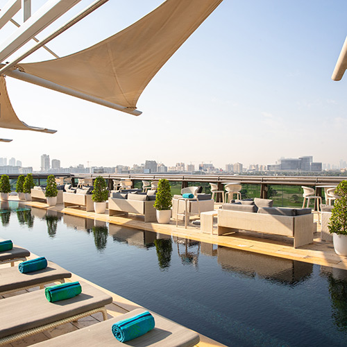 Rooftop view from Jumeirah Creekside Hotel in Dubai