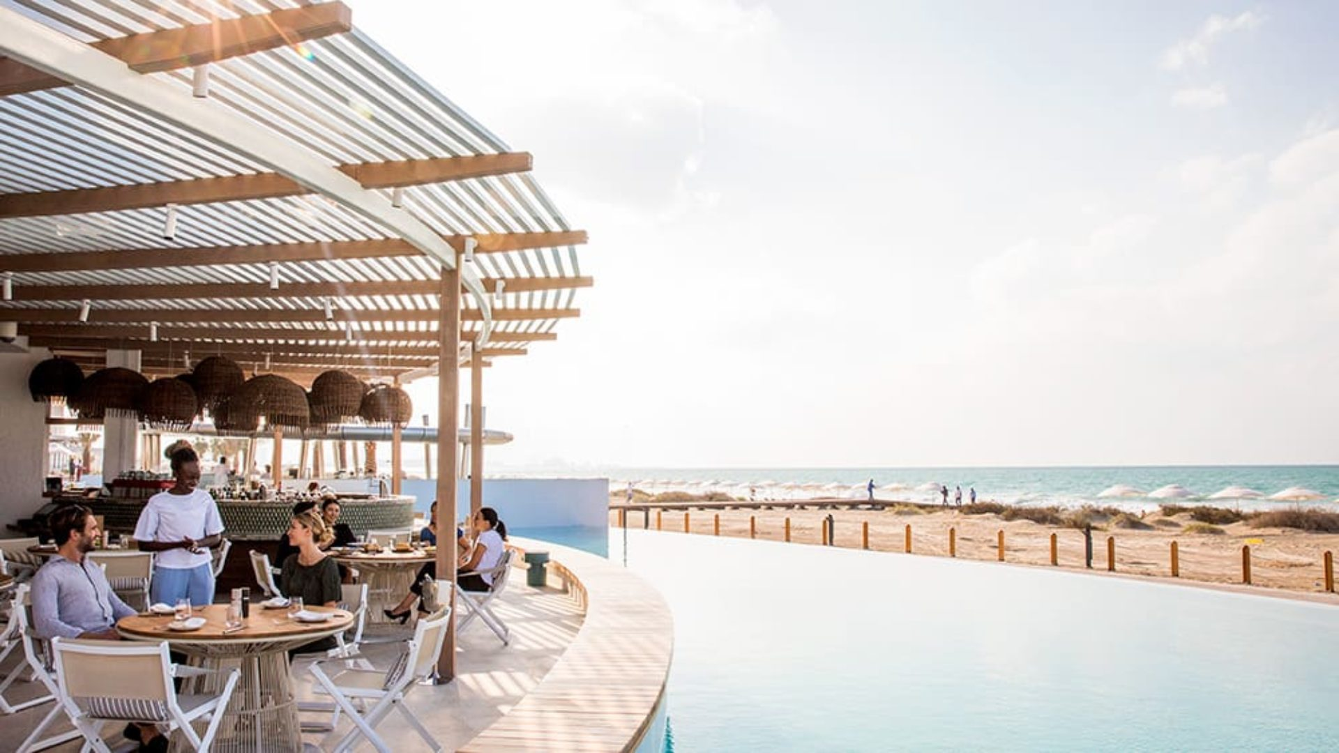 Outdoor dining terrace at Jumeirah at Saadiyat Island