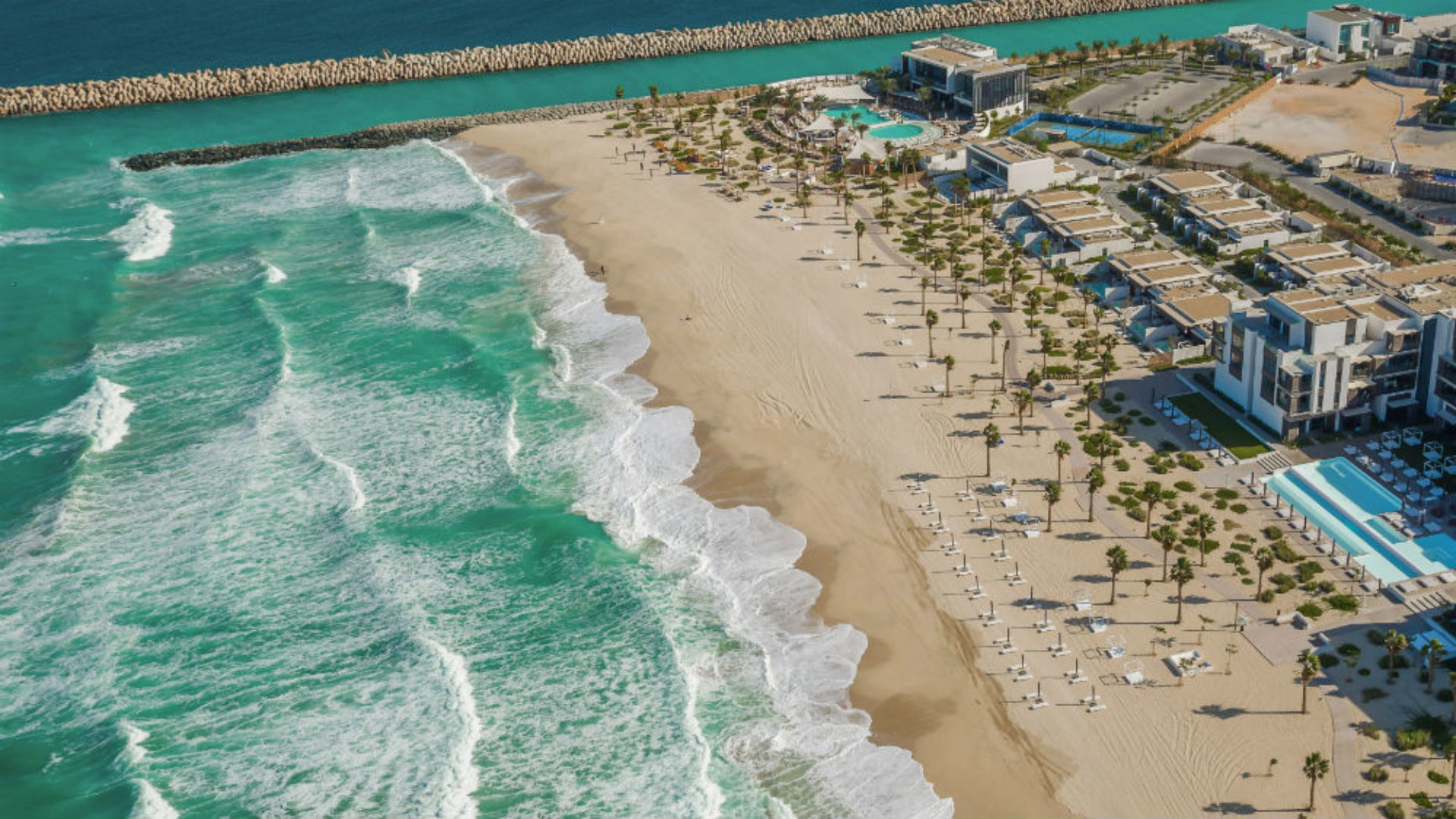 Aerial view of the beach at Nikki Beach Resort & Spa