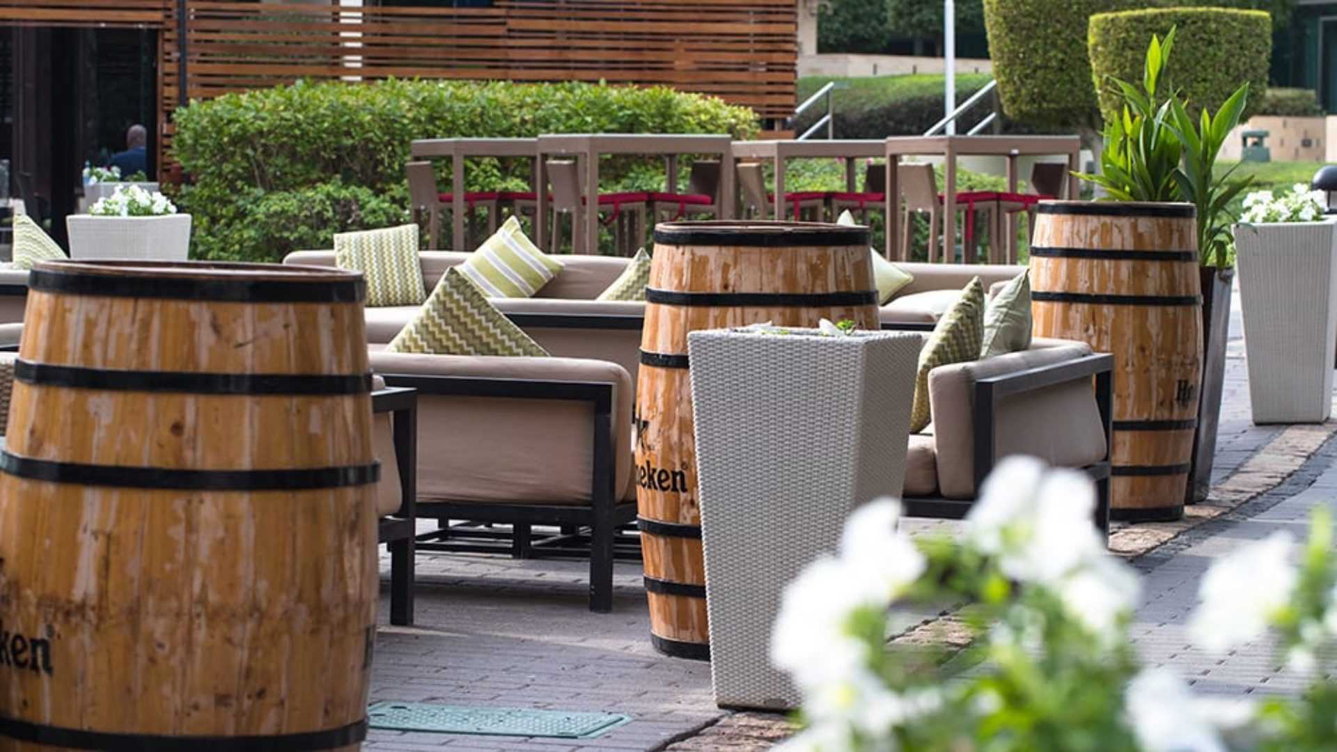 Outdoor terrace at Nomad Restaurant at Jumeirah Creekside