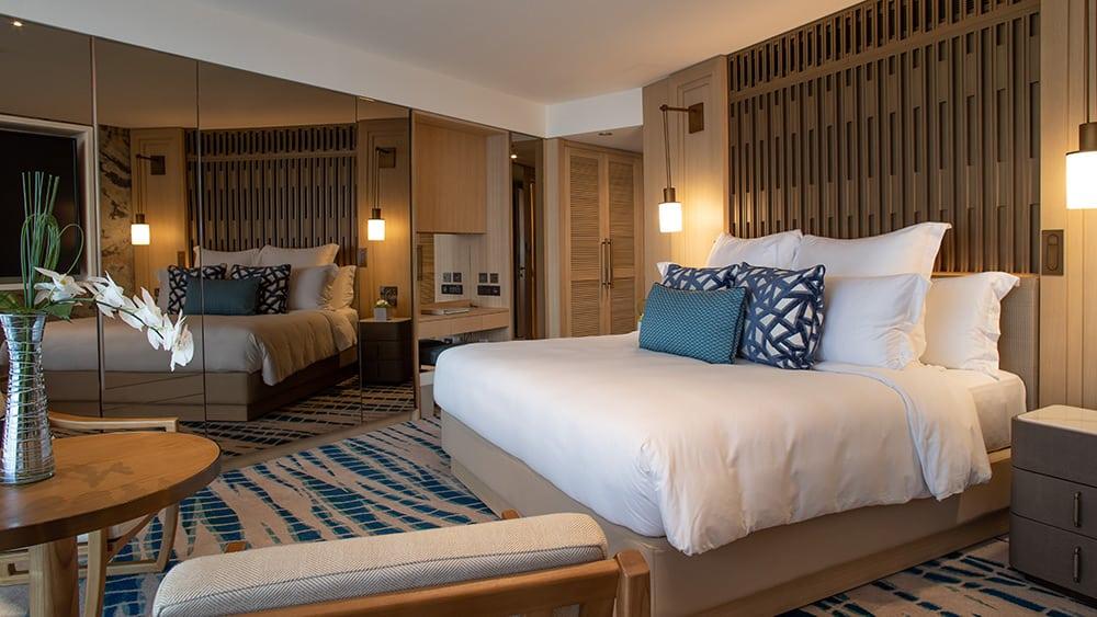 Bedroom of the Ocean Club Room at Jumeirah Beach Hotel