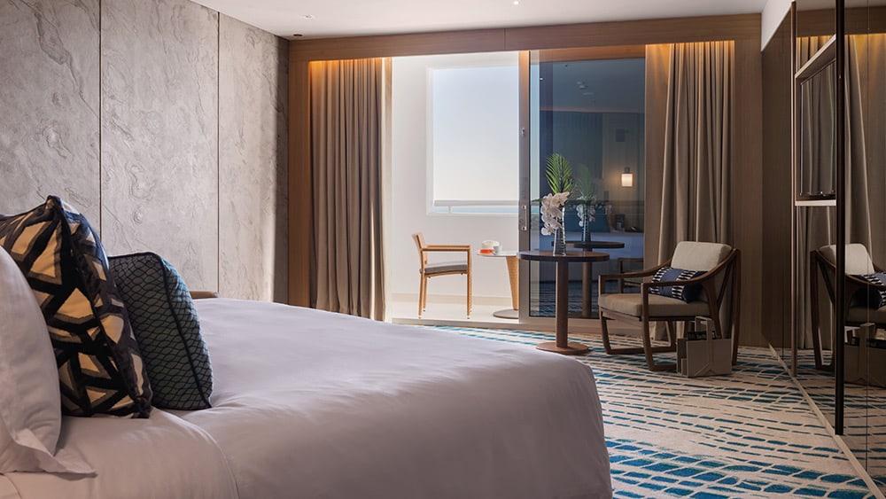 Bedroom of the Ocean Deluxe Room at Jumeirah Beach Hotel