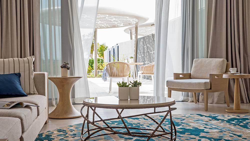 Living room of the Ocean Terrace One Bedroom Suite at Jumeirah at Saadiyat Island