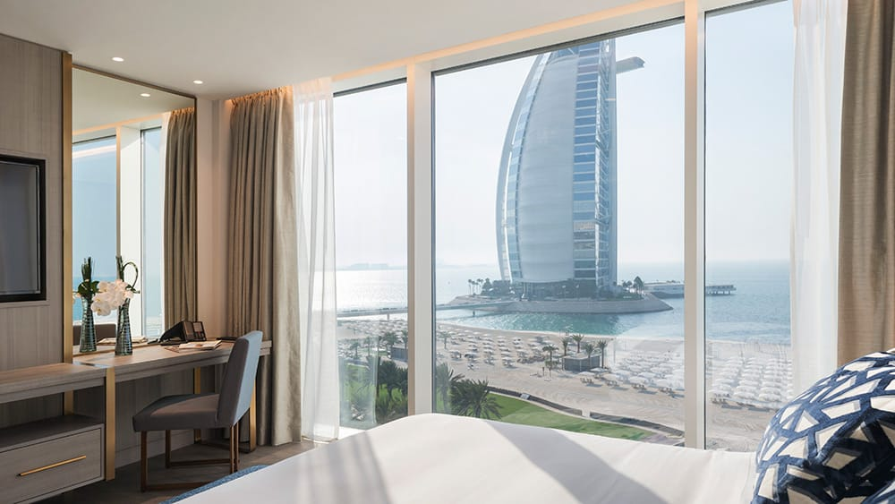 View of the Burj Al Arab from the One Bedroom Ocean Suite at Jumeirah Beach Hotel