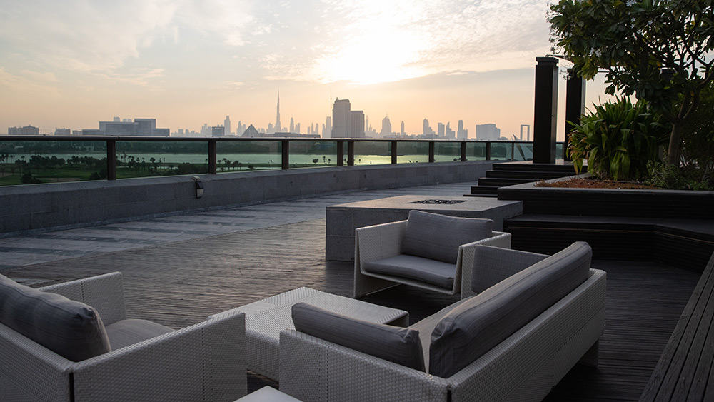 Terrace with Dubai view in the Penthouse Suite at Jumeirah Creekside