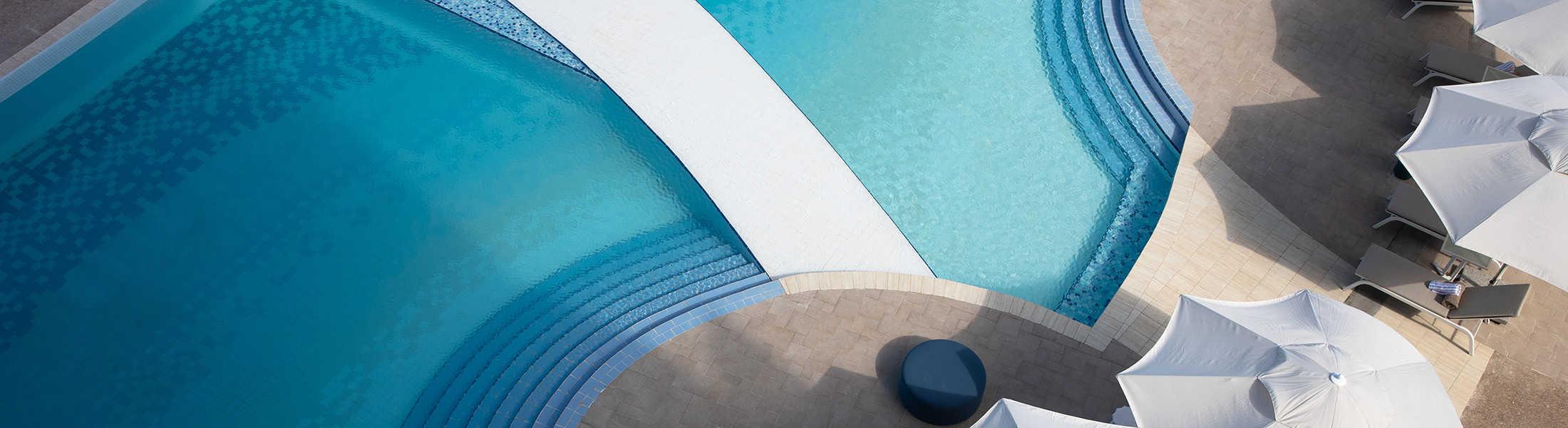Aerial view of the pool at Jumeirah at Saadiyat Island