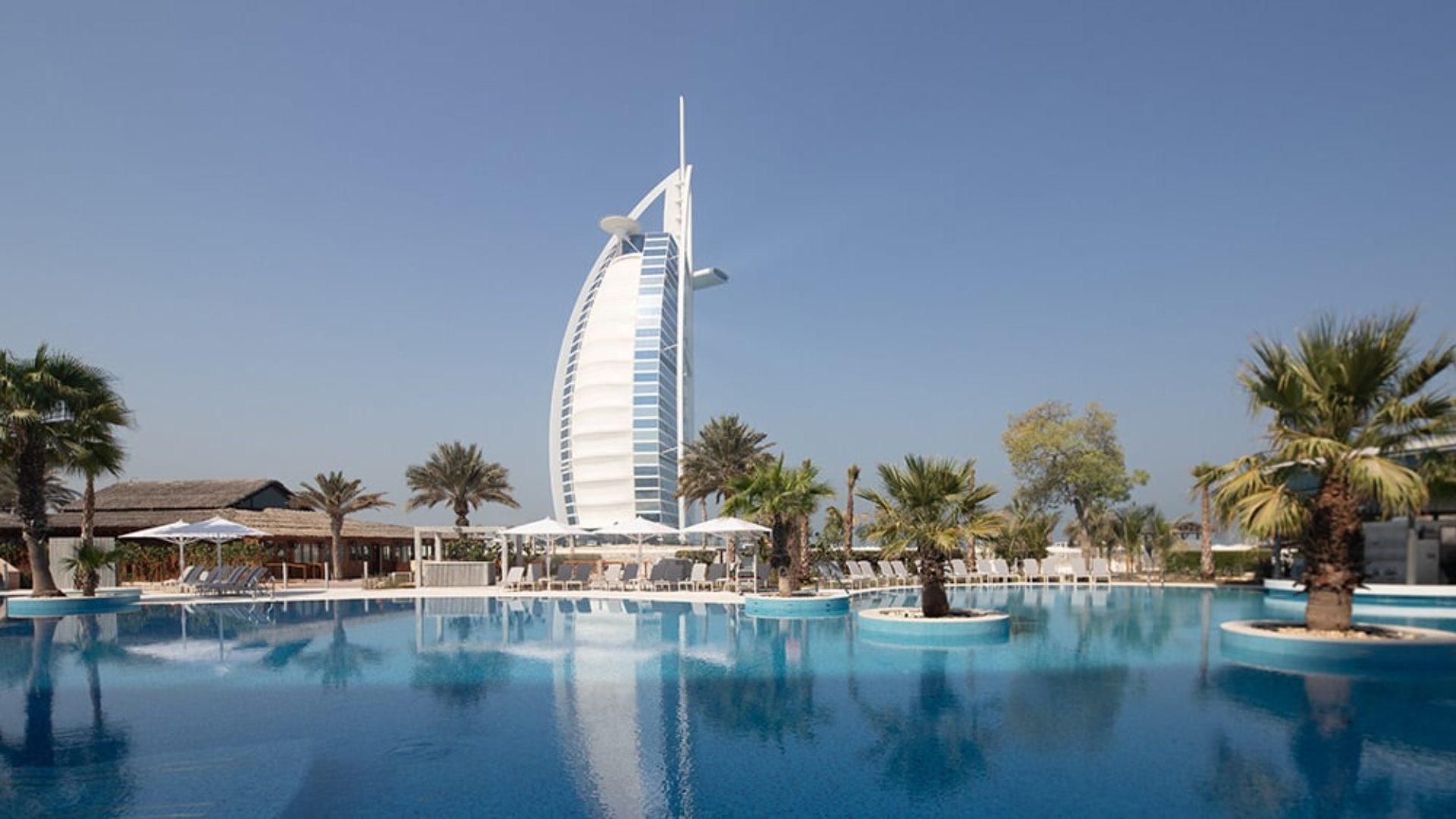 Leisure pool with view of Burj Al Arab at Jumeirah Beach Hotel