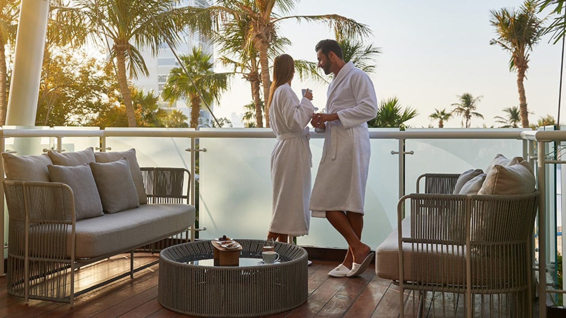 Couple on the balcony of Talise Spa at Jumeirah Beach Hotel