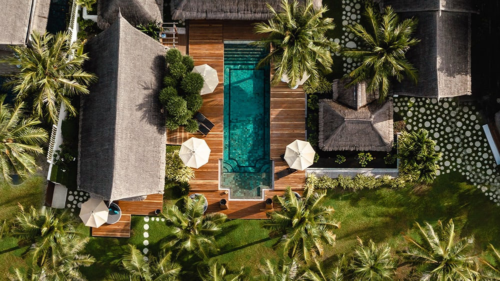 Aerial view of the Three Bedroom Royal Residence at Jumeirah Vittaveli