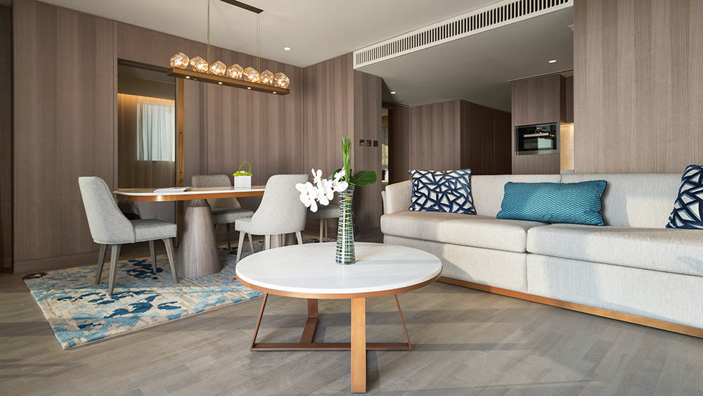 Living room of the Three Bedroom Suite at Jumeirah Beach Hotel