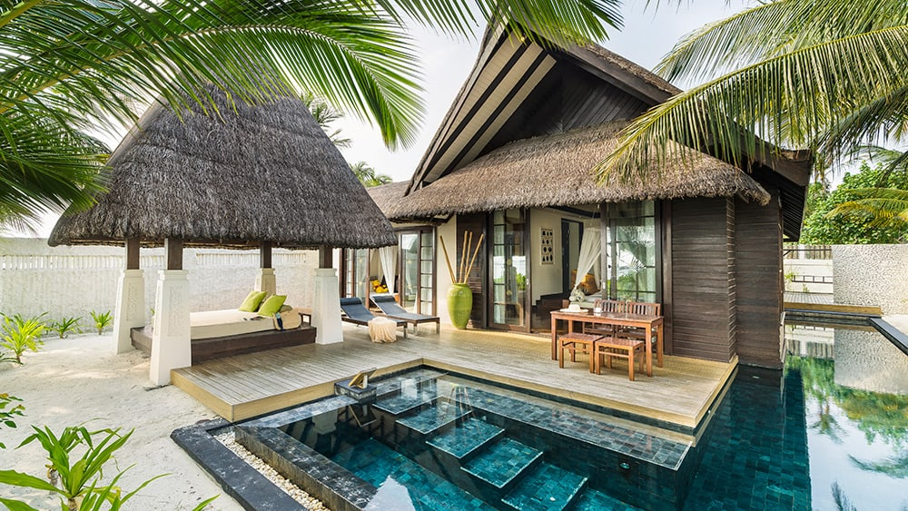 Private plunge pool in the Two Bedroom Beach Villa with Pool at Jumeirah Vittaveli