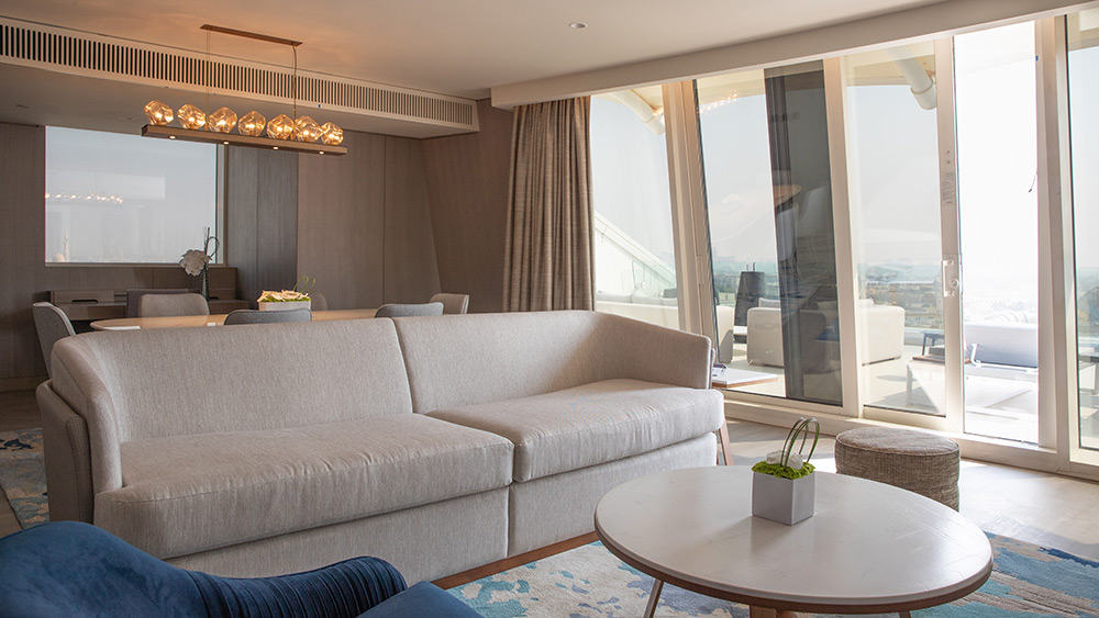 Living room of the Two Bedroom Ocean Suite at Jumeirah Beach Hotel