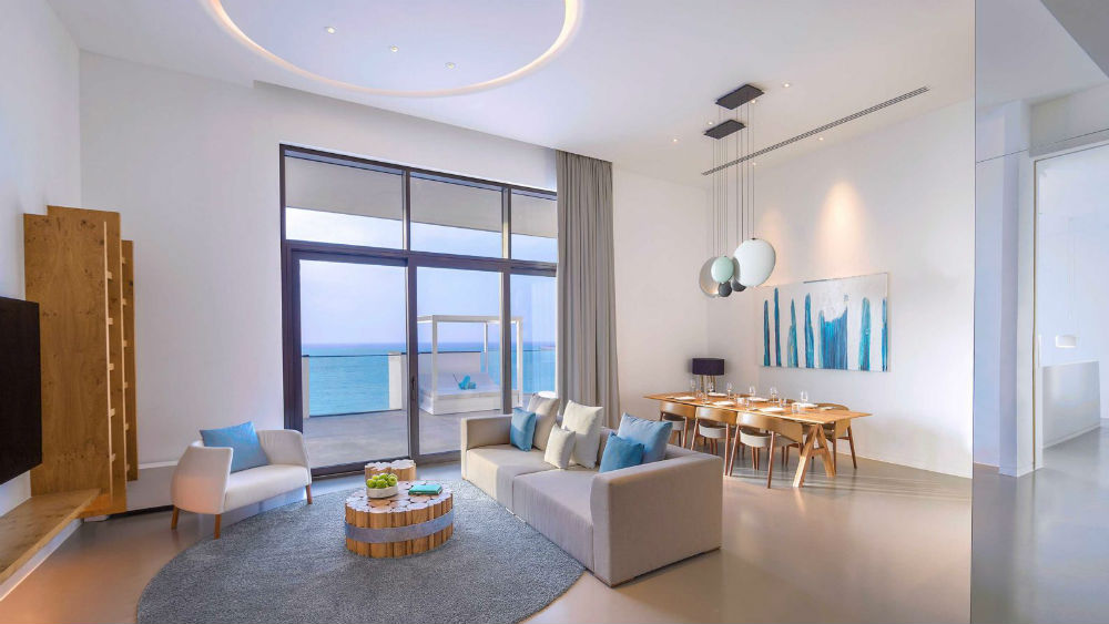 Ultimate Suite living room at the Nikki Beach Resort & Spa Dubai