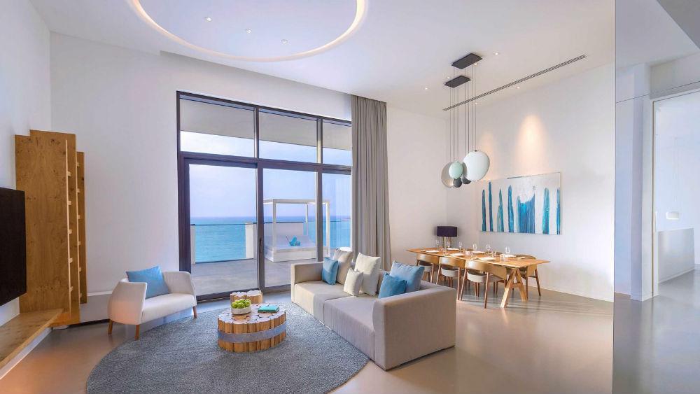 Ultimate Suite living room at the Nikki Beach Resort & Spa Dubai