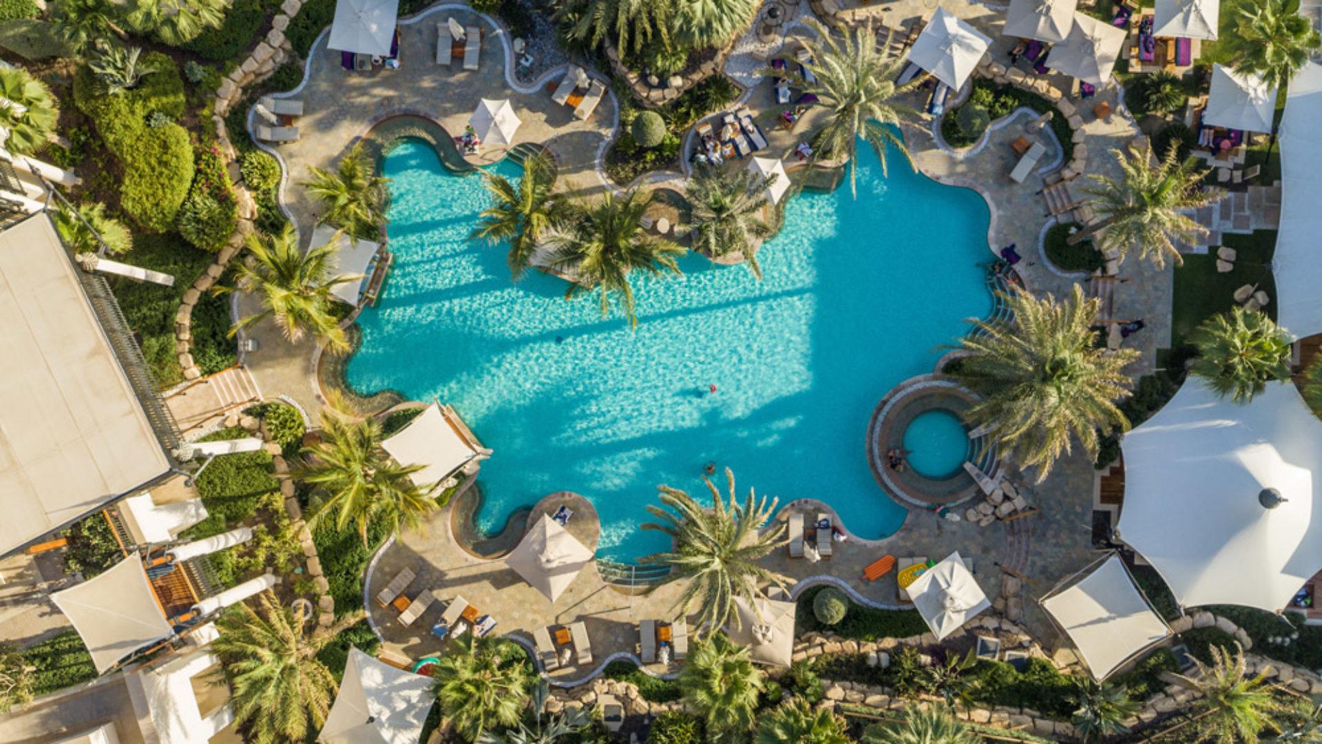 Wadi Pool Aerial Drone at the Jumeirah Al Naseem