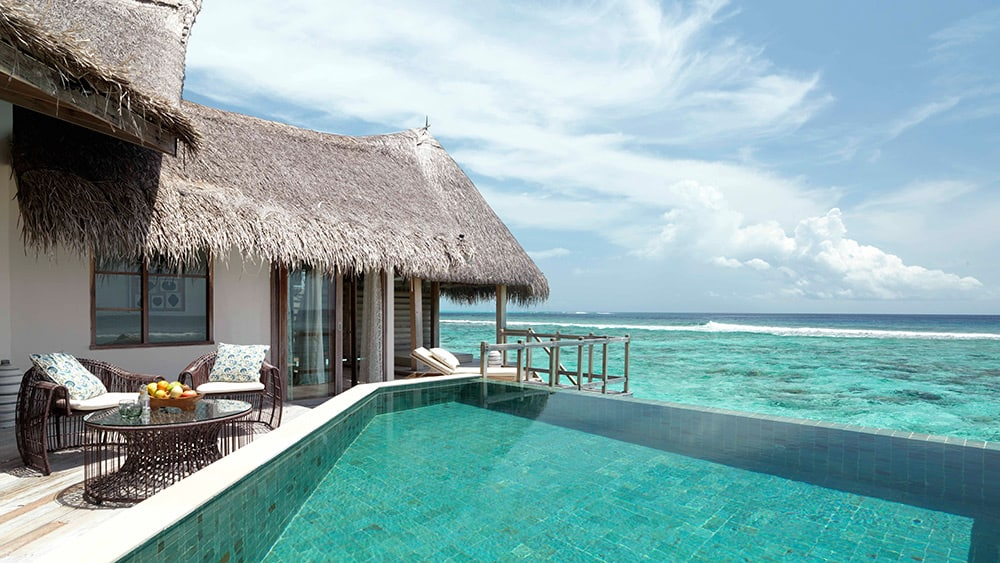 Private pool with sea views in the Water Villa with Private Pool at Jumeirah Vittaveli