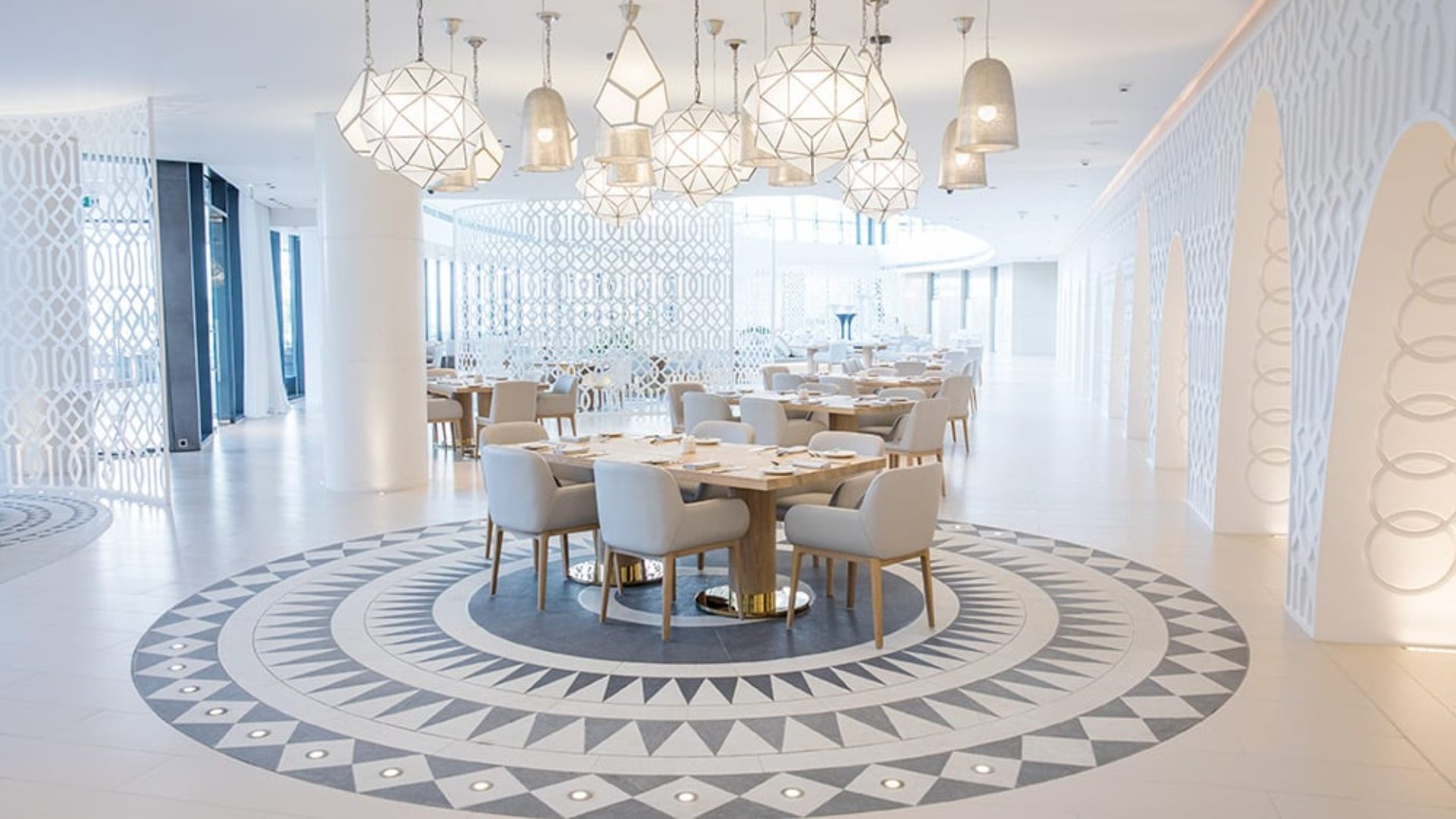 Indoor dining at White Restaurant at Jumeirah at Saadiyat Island
