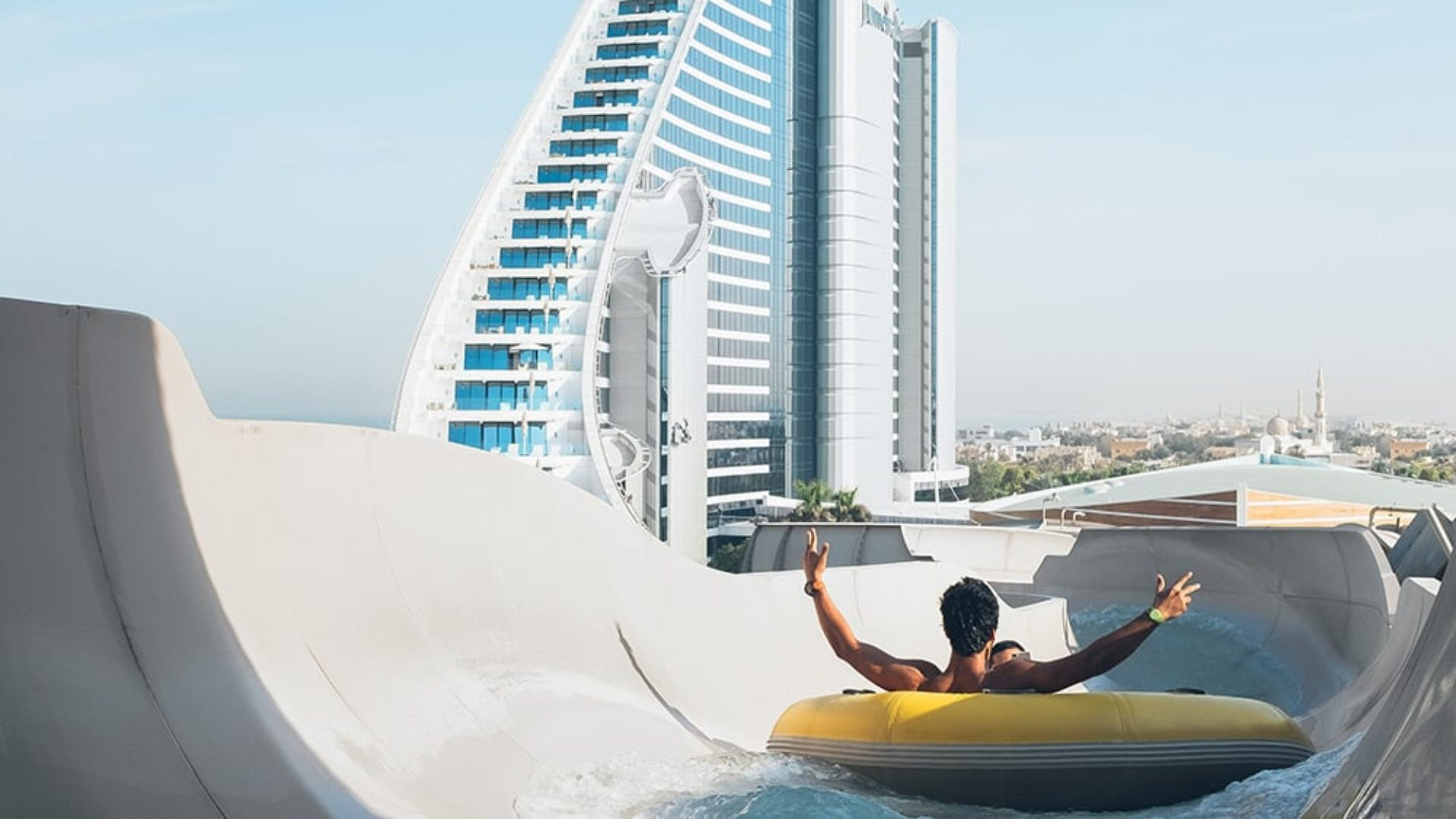 Man on a water tube at Wild Wadi Waterpark
