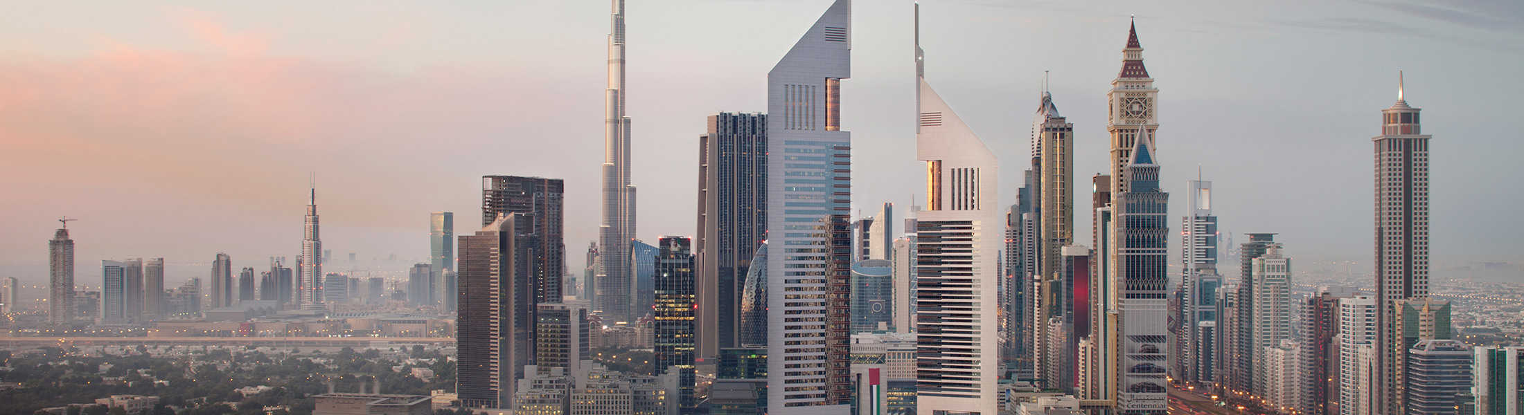 Aerial view of Jumeirah Emirates Towers and the Dubai skyline