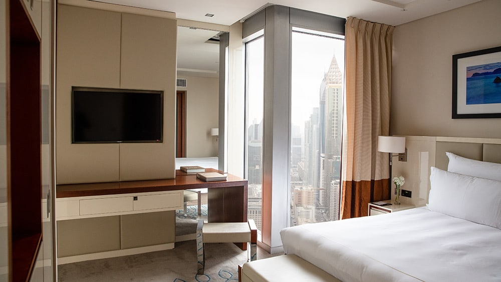 Bedroom of the Club Room at Jumeirah Emirates Towers