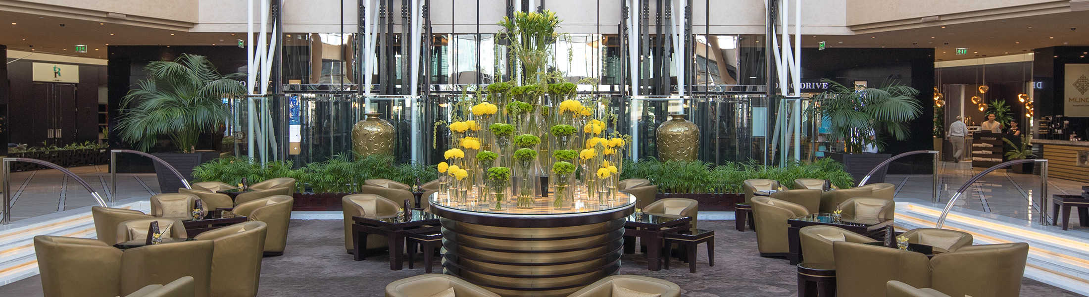Flower display in the lobby of Jumeirah Emirates Towers