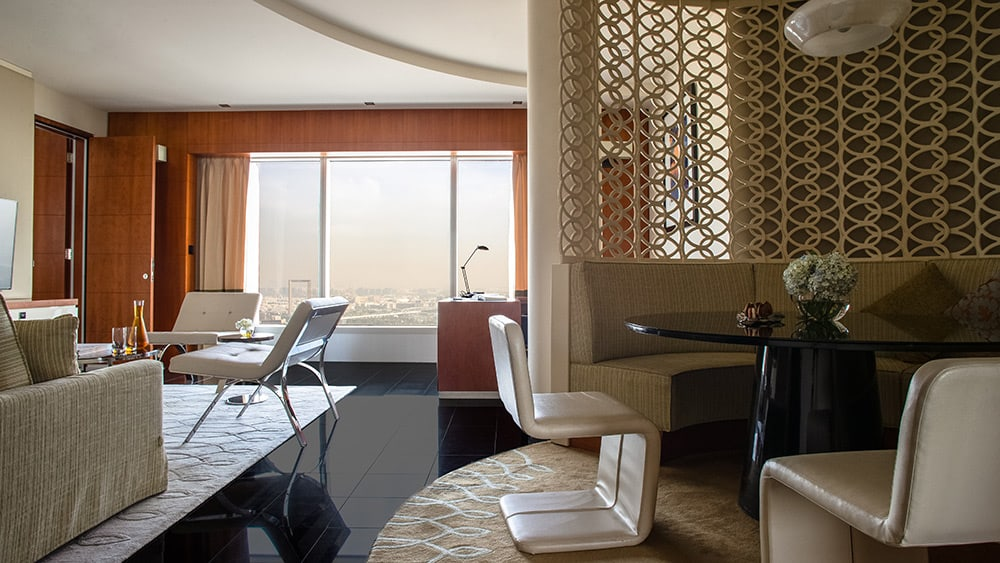 Living room of the Executive Suite at Jumeirah Emirates Towers