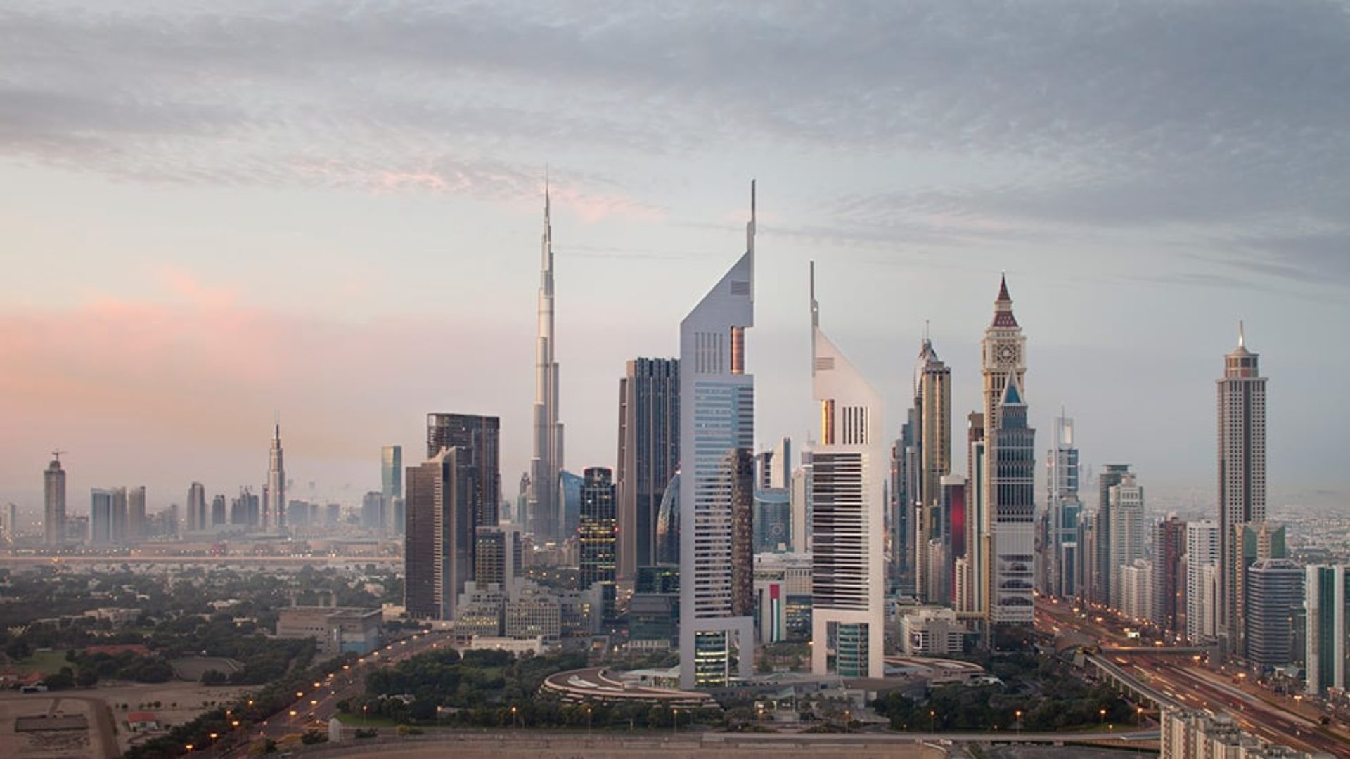 Aerial view of Jumeirah Emirates Towers