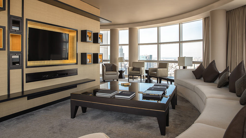 Living room of the Presidential Suite at Jumeirah Emirates Towers