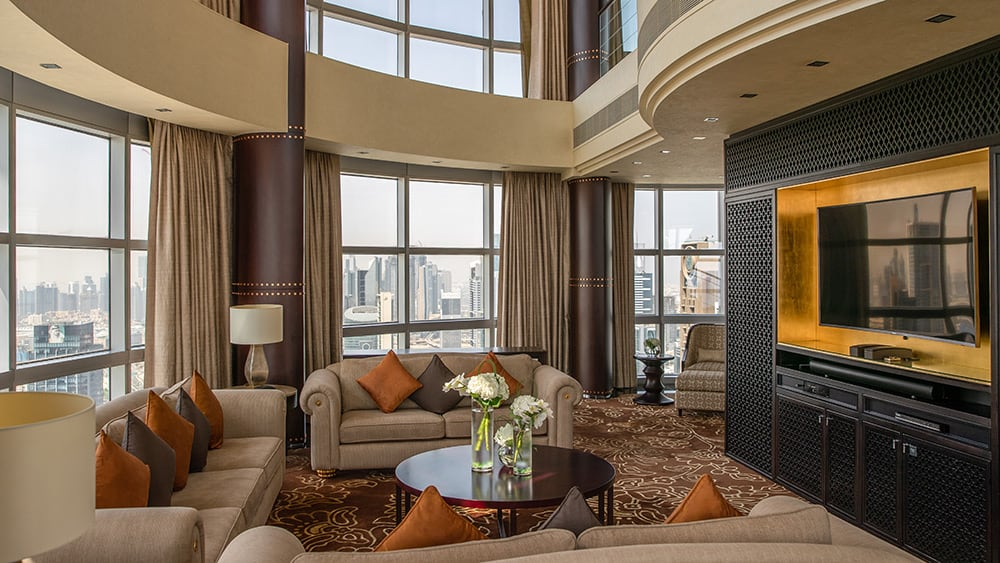 Living room of the Royal Suite at Jumeirah Emirates Towers